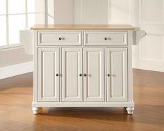 Crosley Furniture KF30001DWH Cambridge Natural Wood Top Kitchen Island in White Finish