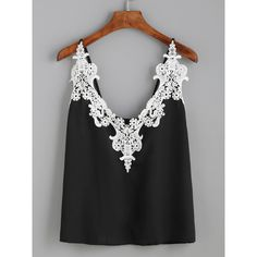 Black Embroidered Lace Applique Cami Top (€7,17) ❤ liked on Polyvore featuring tops, black, lace tank, camisole tank top, floral tank, embroidered vest and floral tops