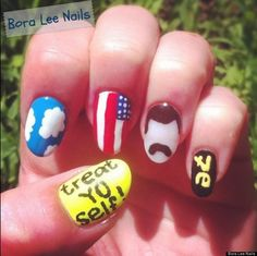 Parks & Rec nail art|       TREAT YO SELF!
