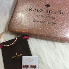 Kate Spade Holiday Drive Gia Kate Spade holiday drive Gia. Sparkle patent PVC. 14 karat gold plated hardware. Pouch with zip top closure. Sparkle rose gold color. kate spade Bags Clutches & Wristlets