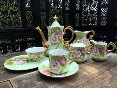 Lefton Pink Rose China Tea Set c.1940s. Large 26 piece set that are all marked and many retain their original foil stickers.