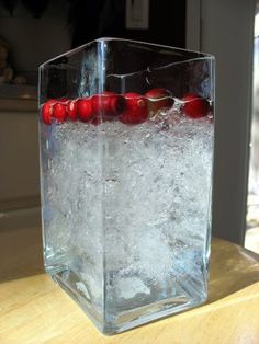 Plastic wrap and water to make a faux icy centerpiece.