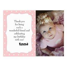 Pink and White Polka Dot Birthday Thank You Postcard