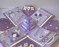 Birthday Exploding Box, Birthday Explosion Box, Purple birthday box, gift box, gift for her, Keepsake Box, Ladies gift box, Birthday Gift