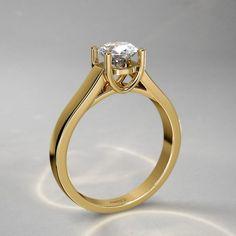 Anillo con Diamante de 1/4qt. sobre Grapas Arqueadas en Oro Amarillo de 14k