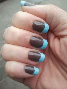#mani #nails brown and blue two-color french