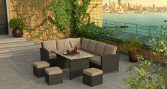 Deluxe flat weave Savannah modular lounge set, traditional garden furniture for outdoor dining