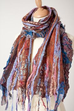 Nuno Felted Wool Scarf Fiber Art Colorful Folk Boho by frenchfelt, €85.00