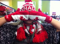 Show off your #Canadian pride with this #sweet #hat, #mitten & #scarf set - ONLY $20 at #PlatosCloset! #IAmCanadian | www.platosclosetbarrie.com