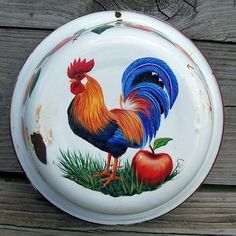 White Red Trim Enamelware Bowl Pan HP ROOSTER APPLES HandPainted Art T. McMurry