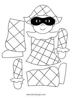 Risultati immagini per arlequin en maternelle Clown Crafts, Circus Crafts, Carnival Crafts, Kids Carnival, Puppet Crafts, Paper Puppets, Paper Toys, Coloring Sheets, Coloring Pages