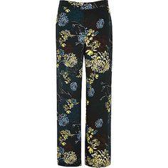 Blue floral print wide leg trousers