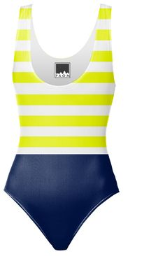 blue with yellow and white stripes one piece swimsuit designed by Chri | Print All Over Me