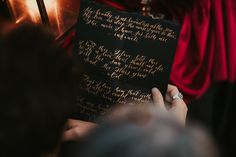 Black and gold calligraphy, Shakespeare poems, calligraphy letter, couple love, mountain elopement, couple session, emotional letter Mountain Elopement, Calligraphy Letters, Elopement Inspiration, Shakespeare, Poems, Couple, Lettering, Love, Black