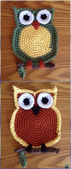 12 Easy Crochet Owl Free Patterns To Begin In An Hour Crochet Owl Coaster Free Pattern-Crochet Owl Ideas Free Patterns Crochet Owl Applique, Owl Crochet Pattern Free, Crochet Owls, Easy Crochet, Free Crochet, Free Pattern, Potholder Patterns, Owl Patterns, Knitting Patterns