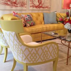 Clean fresh feel, pattern & pop all in one chair! 5 stars CR Laine Iliad Chair BM paint: Angela's trumpet fabric outside back Rivendale lemongrass & inside back Inspire porcelain 310 N Hamilton floor Painted Furniture, Home Furniture, Yellow Sofa, Yellow Chairs, Sofa Colors, Mellow Yellow, Home Furnishings, Living Spaces, Living Rooms
