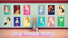 Disney Princesses Paintings by this-is-how-i-ignore-life Perfect for child girls room! #sims3cc