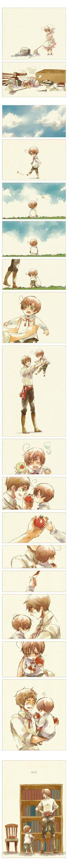 Cute fancomic featuring Romano and Spain (little Lovino and Antonio) - Art by Nori (peco) Hetalia :):