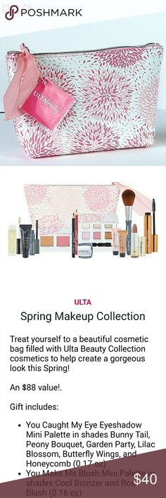 New Arrival~ Ulta Spring Makeup Cosmetic Bag Treat yourself to a beautiful cosmetic bag filled with Ulta Beauty Collection cosmetics to help create a gorgeous look this Spring!  An $88 value!  Gift includes: 14 individual items, all brand new, never opened, used, or swatched. Descriptions are listed in pics!  Super cute bag and awesome products!  Thank you for stopping by my Closet. Please let me know if you have any questions. ♠️GM ULTA Makeup