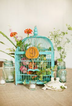 Teal-Pink-Yellow-Colorful-Birdcage-Centerpiece-5
