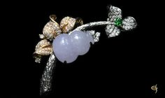 YJBH0034 18KW Jade Diamond Brooch #jade #jewelry #brooch
