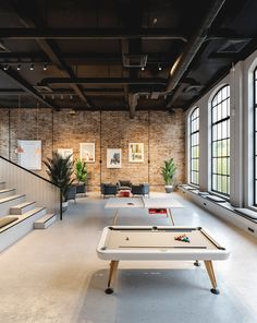 Diagonal Pool Table on Behance Office Space Design, Workspace Design, Loft Design, Office Interior Design, Office Interiors, Office Design Concepts, Industrial Office Space, Industrial Design, Warehouse Design