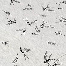 Elastik-Jersey 'Vögel', grau-melange/schwarz Gray, Black