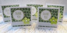Four Leaf Clove Mini Thank You Cards with Flowers by luvncrafts