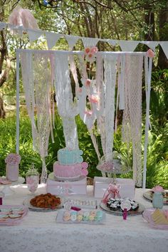 Lovely decor at a vintage high tea birthday party! See more party planning ideas at CatchMyParty.com!