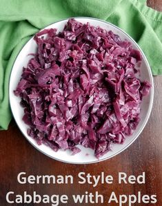 Red cabbage braised with apples and spices. This side is a little sweet, a little sour and is perfect served with any kind of pork. Apples And Cabbage Recipe, German Red Cabbage Recipes, Purple Cabbage Recipes, Spiced Red Cabbage, Cooked Red Cabbage, Red Cabbage With Apples, Sweet And Sour Cabbage, Braised Red Cabbage, Red Cabbage Salad