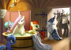 Celestia being prepared for the ceremony by Mister-Saugrenu.deviantart.com on @DeviantArt