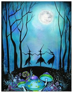Witches Dancing Under the Moon - Haunted Mushroom Forest Woodland Fairy - 8.5 x 11 Painting Print