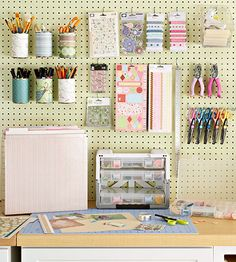 Corral Office Supplies with a Peg Board  Here's another great example of using an organization tool from a different room - in this case, the garage or work room -- in the office.  Learn more at Better Homes and Gardens