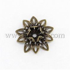 10x 925 sterling silver 6mm Round Flower Bead Caps with 1mm Hole