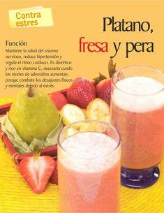 Jugo Natural de Plátano, Fresa y Pera: Contra estrés Detox Juice Recipes, Detox Drinks, Smoothie Recipes, Detox Juices, Cleanse Recipes, Apple Smoothies, Healthy Smoothies, Healthy Drinks, Jugo Natural