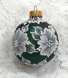 Dark Green Hand Painted 3D White MUD Textured by MargotTheMUDLady