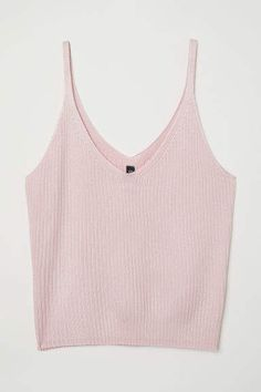H&M Ribbed Camisole Top - Light pink - Women Checkered Outfit, Light Pink Crop Top, Tank Top Outfits, Cute Comfy Outfits, Cute Tank Tops, Teen Fashion Outfits, Pink Tops, Aesthetic Clothes, Camisole Top