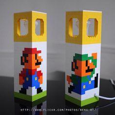 Mario and Luigi lego lamp Lego Lamp, Mario E Luigi, Lego Mario, Legos, Deco Lego, Video Game Crafts, Video Games, Pixel Art, Art Perle