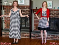 Refashion of a gingham dress, so cute! A thrift store trip is in my near future! Refashion Dress, Diy Clothes Refashion, Diy Dress, Diy Clothing, Party Dress, Textiles Y Moda, Thrift Store Outfits, Sewing Alterations, Diy Clothes Videos
