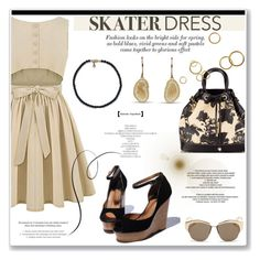 """""""Summer Style: Cutout Skater Dress"""" by littlehjewelry ❤ liked on Polyvore featuring Christian Dior, summerstyle, skaterdress, contestentry, pearljewelry and littlehjewelry"""