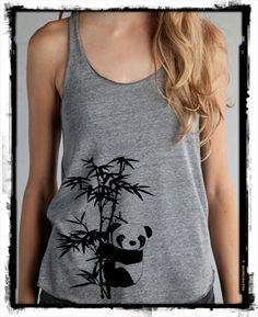 Panda Bear on Bamboo Tree Girls Ladies Heathered Tank Top Shirt silkscreen screenprint Alternative Apparel