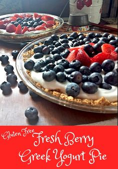 Gluten Free Fresh Berry Greek Yogurt Pie. A healthy alternative to cheesecake. Gluten Free.