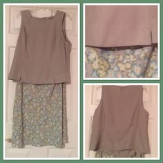 Hillard and Hanson skirt and Bice top. Sleeveless top with back zipper.  Side zip skirt with elastic waist.  You will need to wear a slip with this skirt! Hillard and Hansen Bice by Sag Harbor Skirts