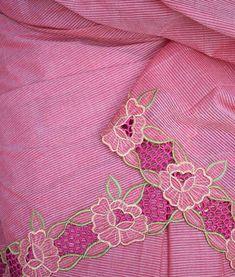 Elegant Cotton saree with Cut work Cutwork Saree, Cutwork Embroidery, Hand Work Embroidery, Simple Embroidery, Embroidery Fashion, Embroidery Suits Punjabi, Embroidery Suits Design, Flower Embroidery Designs, Machine Embroidery Designs