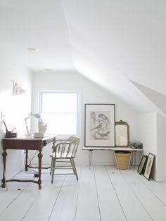 pure & simple attic workspace (via Design*Sponge) - my ideal home...