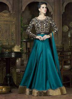 Teal Blue And Black Colored Alluring Taffeta Silk Designer Embroidered Anarkali Suit
