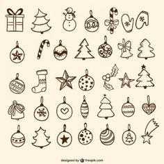 Dibujos de adornos de árbol de Navidad