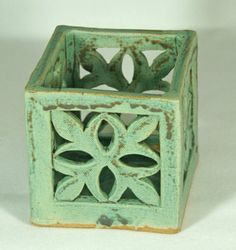 Green Gothic Candle Holder Handmade Pottery by saxondesignstudio