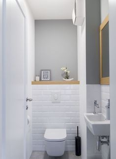 Space Saving Toilet Design for Small Bathroom - Home to Z toilettes Space Saving Toilet, Half Bathroom Decor, Small Toilet Room, Bathroom Wall Decor, Bathroom Styling, Small Toilet, Toilet Design, Bathroom Design Small, Downstairs Toilet