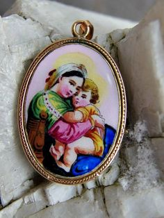 14k Rose Gold and Polychrome Enamel Raphael Madonna or Virgin Mary Medal or Pendant, Hungarian Inscription on Back, Very Beautiful and Rare by postGingerbread on Etsy